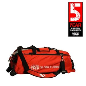 Vise Grip 3 Ball Clear Top Tote Roller Red Bowling Bags