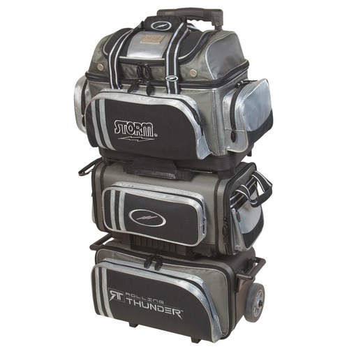 Storm Rolling Thunder 6 Ball Roller Grey Black Silver Bowling Bags Free Shipping